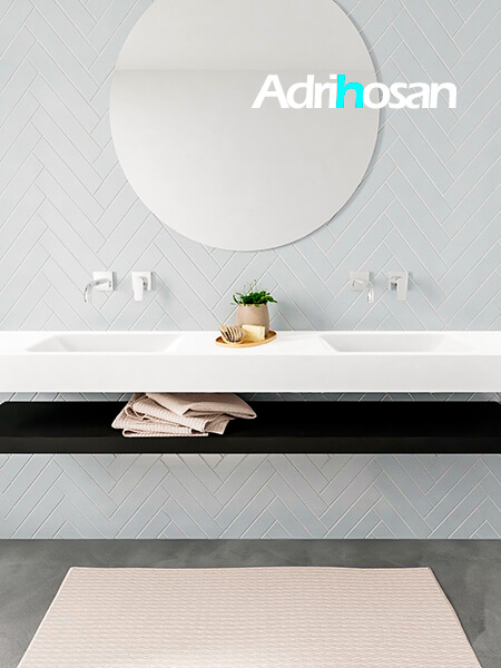 Mueble suspendido ALAN 200 cm de Sin cajones urban. Encimera con lavabo CLOUD doble sin orificio blanco mate