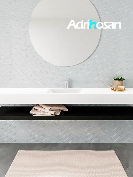 Mueble suspendido ALAN 200 cm de Sin cajones urban. Encimera con lavabo CLOUD centro 1 orificio blanco mate