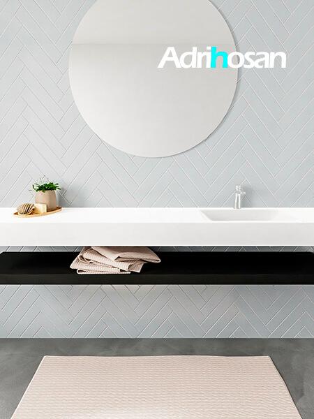 Mueble suspendido ALAN 200 cm de Sin cajones urban. Encimera con lavabo CLOUD derecha 1 orificio blanco mate