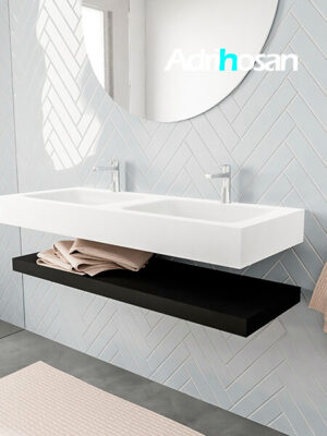 Badkamermeubel met solid surface wastafel model ALAN wit planchet matzwart side 00015 1