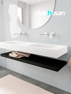 Badkamermeubel met solid surface wastafel model ALAN wit planchet matzwart side 00019 1