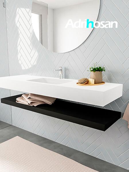 Badkamermeubel met solid surface wastafel model ALAN wit planchet matzwart side 00020 1