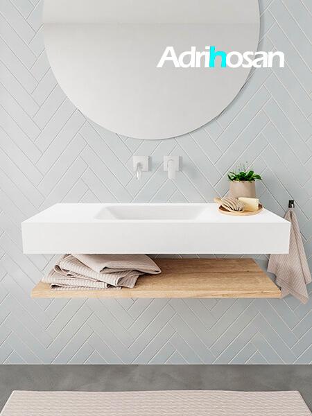 Mueble suspendido ALAN 100 cm de Sin cajones roble lavabo. Encimera con lavabo CLOUD centro sin orificio blanco mate