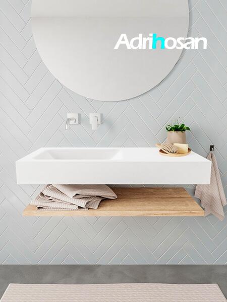 Mueble suspendido ALAN 100 cm de Sin cajones roble lavabo. Encimera con lavabo CLOUD izquierda sin orificio blanco mate