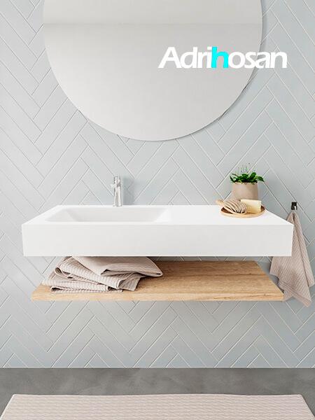 Mueble suspendido ALAN 100 cm de Sin cajones roble lavabo. Encimera con lavabo CLOUD izquierda 1 orificio blanco mate