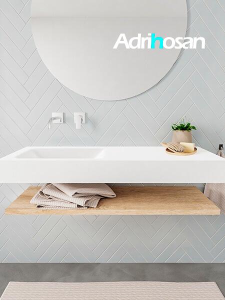 Mueble suspendido ALAN 120 cm de Sin cajones roble lavabo. Encimera con lavabo CLOUD izquierda sin orificio blanco mate