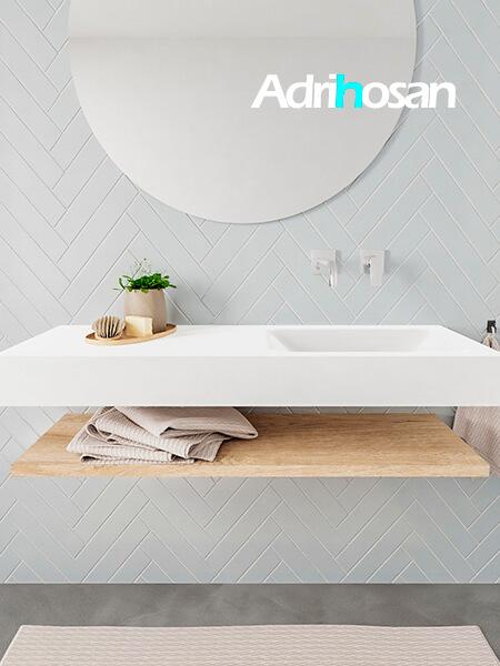 Mueble suspendido ALAN 120 cm de Sin cajones roble lavabo. Encimera con lavabo CLOUD derecha sin orificio blanco mate