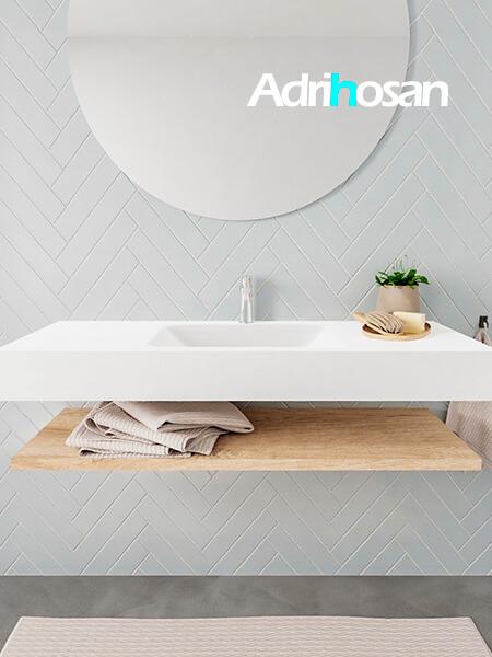 Mueble suspendido ALAN 120 cm de Sin cajones roble lavabo. Encimera con lavabo CLOUD centro 1 orificio blanco mate