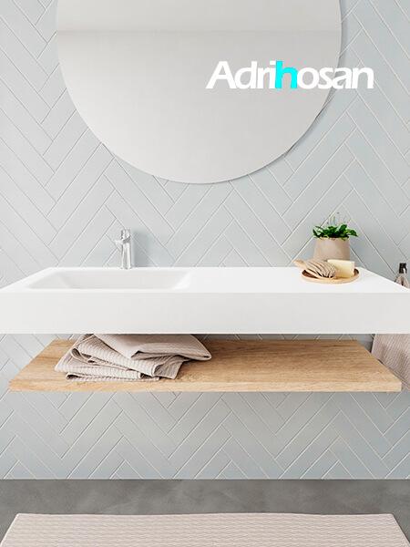 Mueble suspendido ALAN 120 cm de Sin cajones roble lavabo. Encimera con lavabo CLOUD izquierda 1 orificio blanco mate