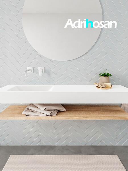 Mueble suspendido ALAN 150 cm de Sin cajones roble lavabo. Encimera con lavabo CLOUD izquierda sin orificio blanco mate