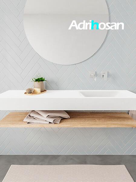 Mueble suspendido ALAN 150 cm de Sin cajones roble lavabo. Encimera con lavabo CLOUD derecha sin orificio blanco mate
