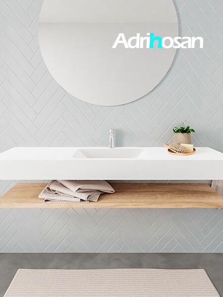 Mueble suspendido ALAN 150 cm de Sin cajones roble lavabo. Encimera con lavabo CLOUD centro 1 orificio blanco mate
