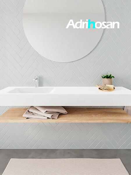 Mueble suspendido ALAN 150 cm de Sin cajones roble lavabo. Encimera con lavabo CLOUD izquierda 1 orificio blanco mate