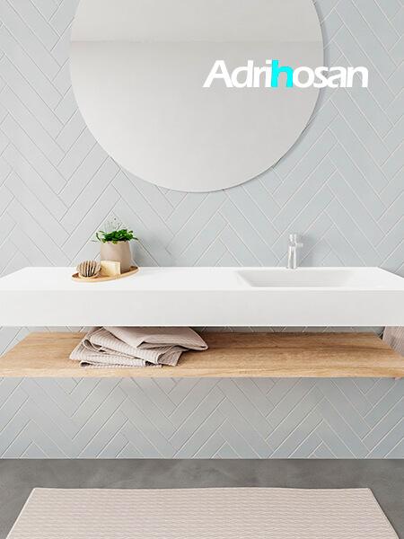 Mueble suspendido ALAN 150 cm de Sin cajones roble lavabo. Encimera con lavabo CLOUD derecha 1 orificio blanco mate