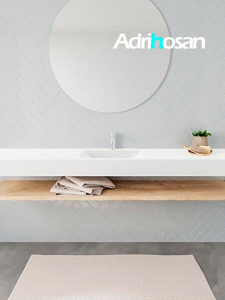 Mueble suspendido ALAN 200 cm de Sin cajones roble lavabo. Encimera con lavabo CLOUD centro 1 orificio blanco mate