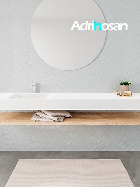 Mueble suspendido ALAN 200 cm de Sin cajones roble lavabo. Encimera con lavabo CLOUD izquierda 1 orificio blanco mate
