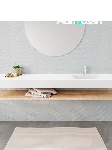 Mueble suspendido ALAN 200 cm de Sin cajones roble lavabo. Encimera con lavabo CLOUD derecha 1 orificio blanco mate