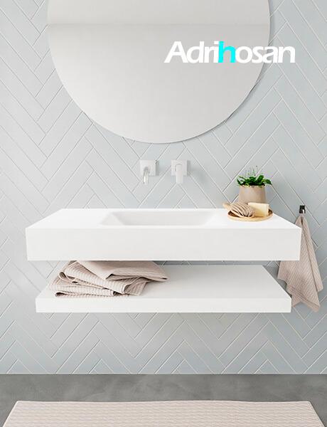 Mueble suspendido ALAN 100 cm de Sin cajones blanco mate. Encimera con lavabo CLOUD centro sin orificio blanco mate