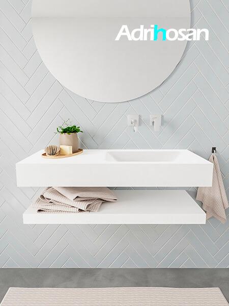 Mueble suspendido ALAN 100 cm de Sin cajones blanco mate. Encimera con lavabo CLOUD derecha sin orificio blanco mate