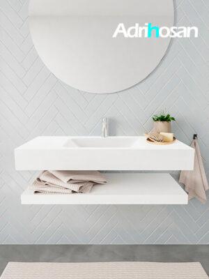 Badkamermeubel met solid surface wastafel model ALAN wit planchet white front 00005 1