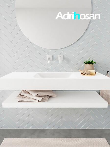 Mueble suspendido ALAN 120 cm de Sin cajones blanco mate. Encimera con lavabo CLOUD centro sin orificio blanco mate
