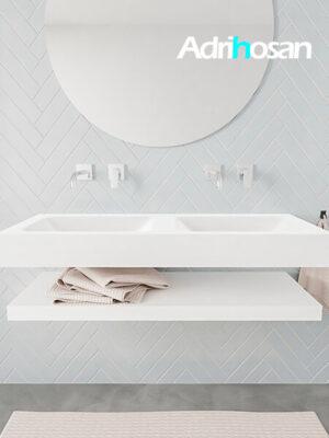 Badkamermeubel met solid surface wastafel model ALAN wit planchet white front 00011 1
