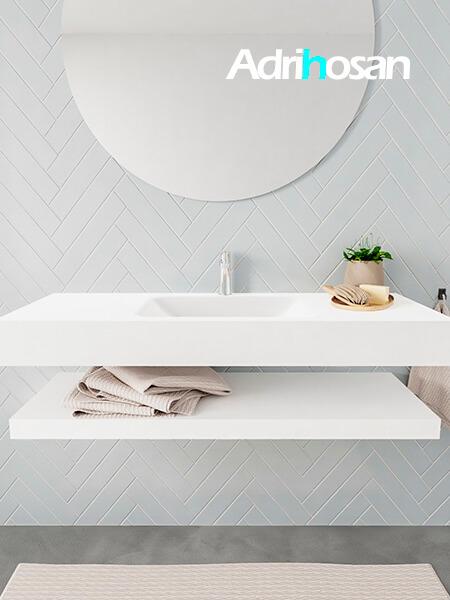 Mueble suspendido ALAN 120 cm de Sin cajones blanco mate. Encimera con lavabo CLOUD centro 1 orificio blanco mate