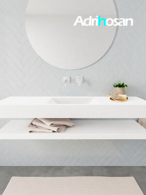 Badkamermeubel met solid surface wastafel model ALAN wit planchet white front 00016 1