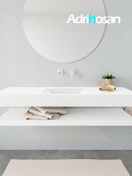 Mueble suspendido ALAN 150 cm de Sin cajones blanco mate. Encimera con lavabo CLOUD centro sin orificio blanco mate