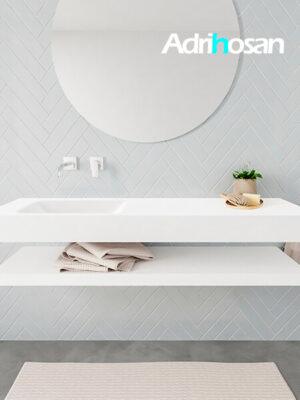 Badkamermeubel met solid surface wastafel model ALAN wit planchet white front 00017 1