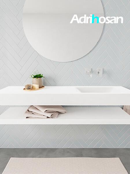 Mueble suspendido ALAN 150 cm de Sin cajones blanco mate. Encimera con lavabo CLOUD derecha sin orificio blanco mate
