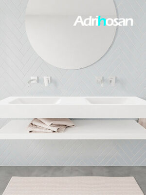 Badkamermeubel met solid surface wastafel model ALAN wit planchet white front 00019 1
