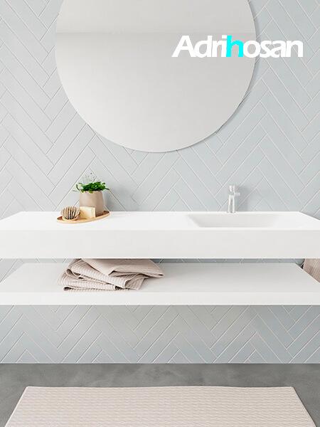 Mueble suspendido ALAN 150 cm de Sin cajones blanco mate. Encimera con lavabo CLOUD derecha 1 orificio blanco mate