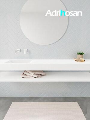 Badkamermeubel met solid surface wastafel model ALAN wit planchet white front 00041 1