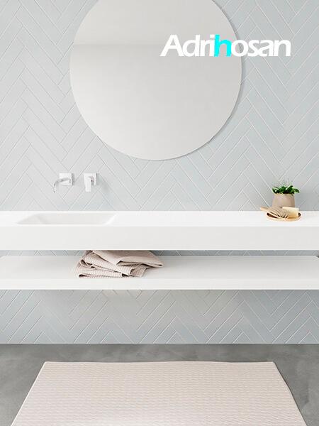 Mueble suspendido ALAN 200 cm de Sin cajones blanco mate. Encimera con lavabo CLOUD izquierda sin orificio blanco mate