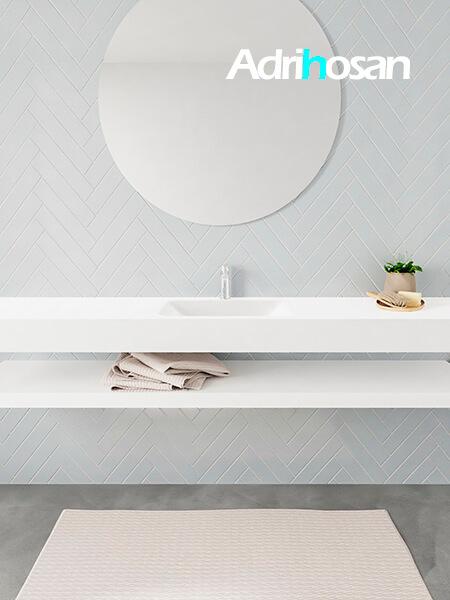 Mueble suspendido ALAN 200 cm de Sin cajones blanco mate. Encimera con lavabo CLOUD centro 1 orificio blanco mate