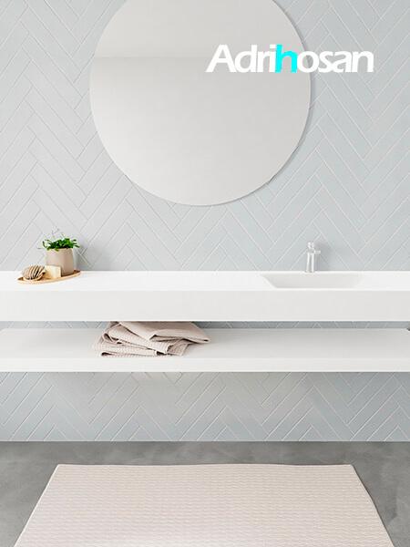 Mueble suspendido ALAN 200 cm de Sin cajones blanco mate. Encimera con lavabo CLOUD derecha 1 orificio blanco mate