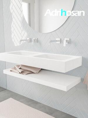 Badkamermeubel met solid surface wastafel model ALAN wit planchet white side 00011 1