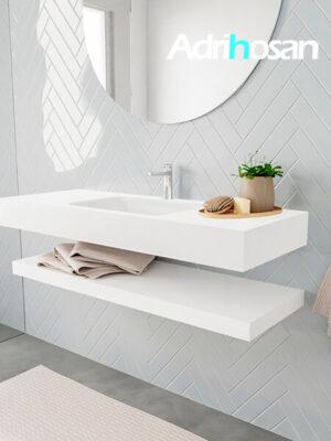 Badkamermeubel met solid surface wastafel model ALAN wit planchet white side 00012 1