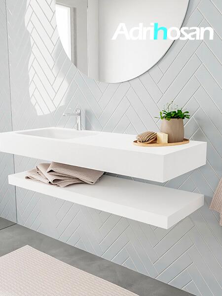 Badkamermeubel met solid surface wastafel model ALAN wit planchet white side 00013 1
