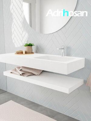Badkamermeubel met solid surface wastafel model ALAN wit planchet white side 00014 1