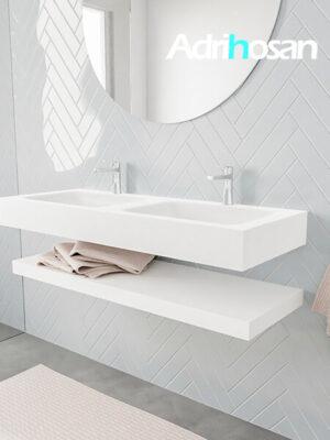 Badkamermeubel met solid surface wastafel model ALAN wit planchet white side 00015 1