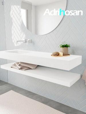 Badkamermeubel met solid surface wastafel model ALAN wit planchet white side 00017 1