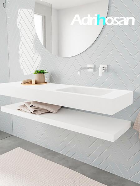 Badkamermeubel met solid surface wastafel model ALAN wit planchet white side 00018 1