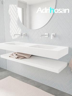 Badkamermeubel met solid surface wastafel model ALAN wit planchet white side 00019 1