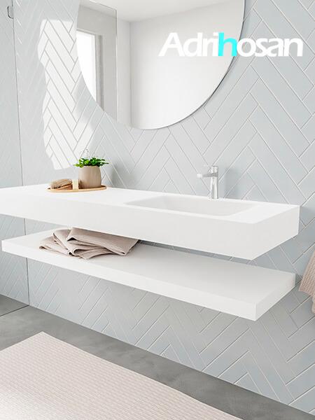Badkamermeubel met solid surface wastafel model ALAN wit planchet white side 00022 1