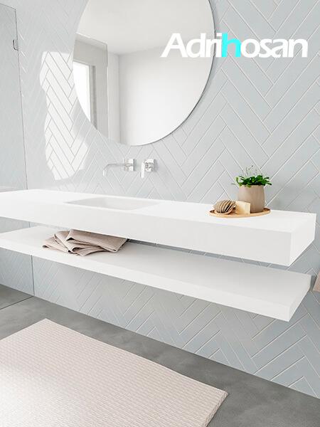 Badkamermeubel met solid surface wastafel model ALAN wit planchet white side 00040 1