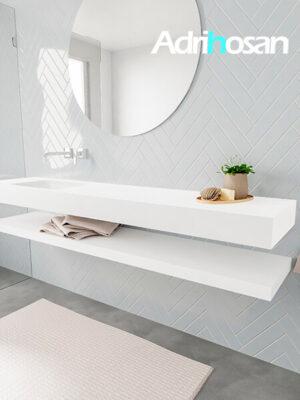 Badkamermeubel met solid surface wastafel model ALAN wit planchet white side 00041 1