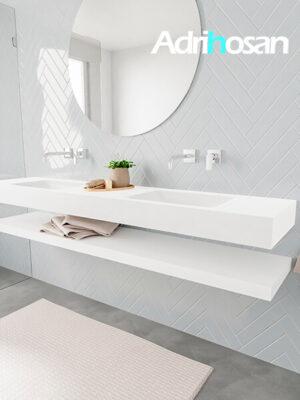 Badkamermeubel met solid surface wastafel model ALAN wit planchet white side 00043 1