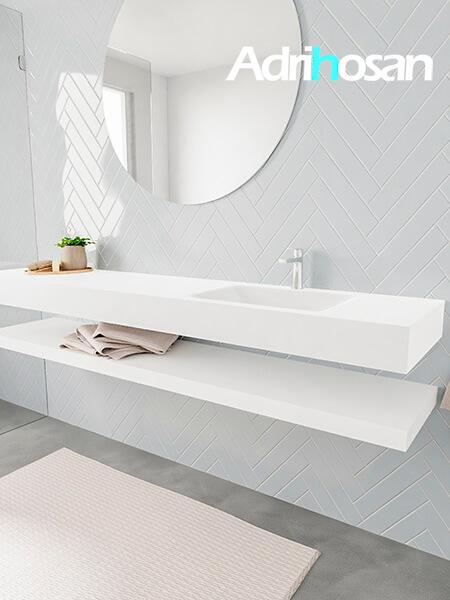 Badkamermeubel met solid surface wastafel model ALAN wit planchet white side 00046 1